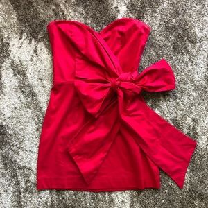 Red Strapless Dress w/ Bow